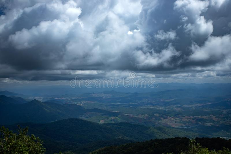 Summit of Doi Inthanon Mountain in Thailand - Thailand's highest mountain close to Chiang Mai. Amazing view from the top of Thailand, Doi Inthanon National Park stock photo