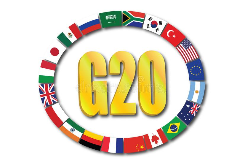 Summit G20 concept with globe rendering isolated on white background stock images