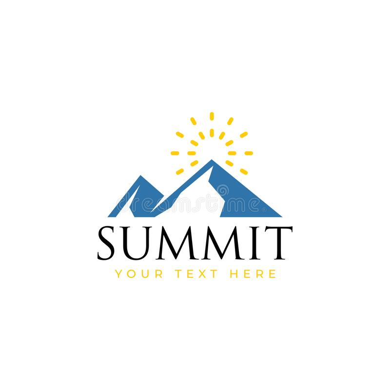 Summit logo design template vector isolated illustration. Minimalist, rocky, hills, panorama, sky, icon, logotype, outdoor, vacation, creek, sun, volcano vector illustration