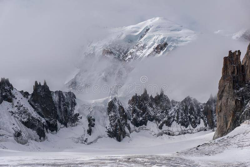 The summit of Monte Bianco in the Alps seen from the Geant Glacier at the boundary between Italy and France royalty free stock photography