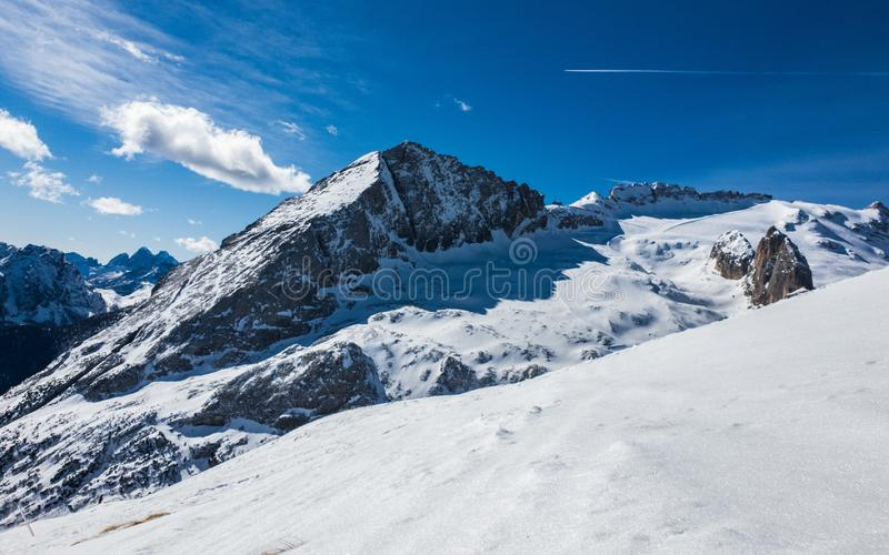 The summit of Mount Marmolada on a beautiful sunny day, Dolomites, Italy royalty free stock photography
