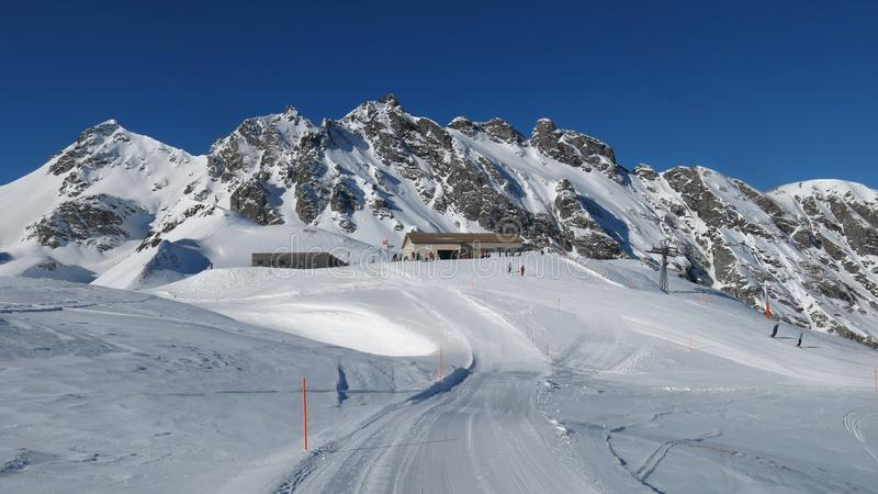 Summit station of the Pizol chair lift. Ski slope and mountains stock photos