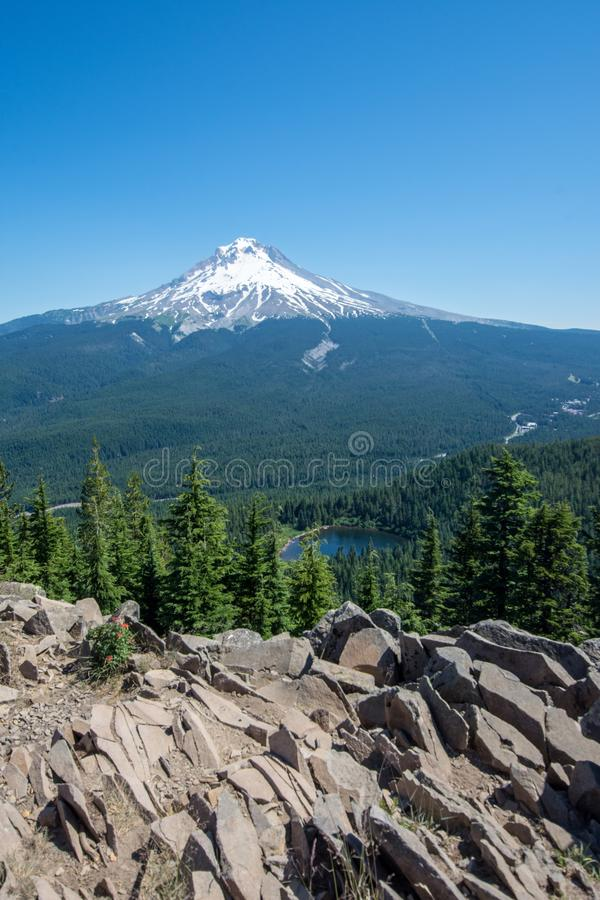 Summit of Tom and Harry Mountain with a clear view of Mt. Hood Oregon. On summer sunny day royalty free stock photos