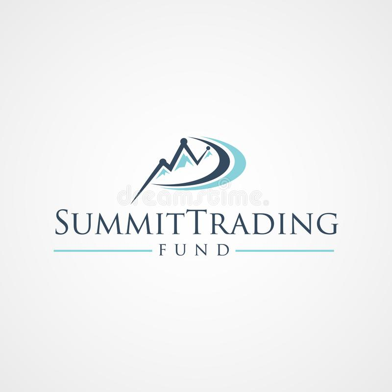 Summit Trading Fund Logo Symbol With Graphical Growth. And Mountain royalty free illustration