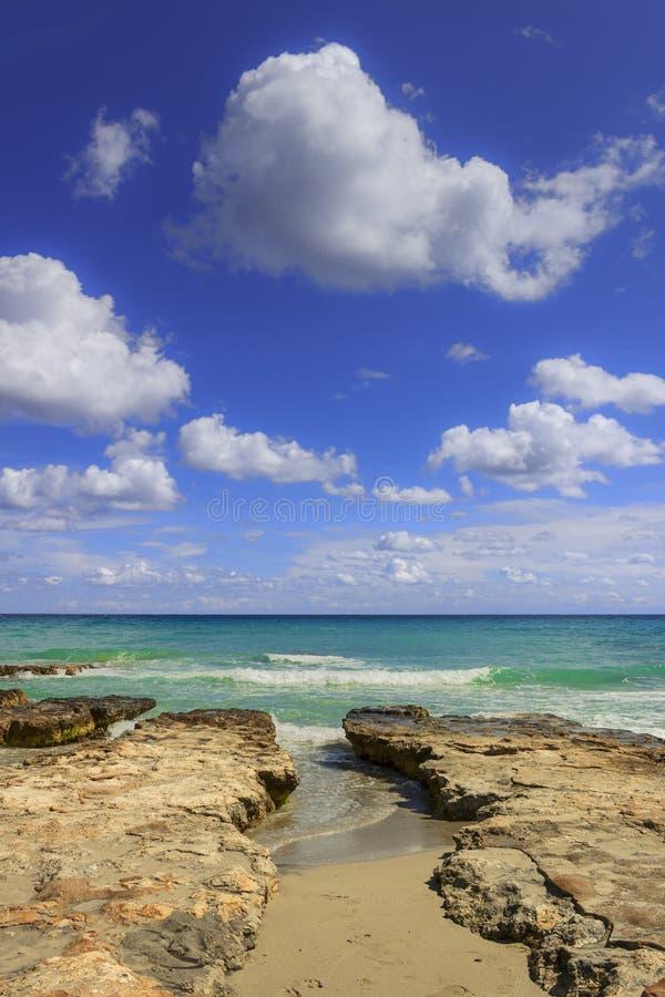Summmer sur la plage solitaire Côte de Salento : il ` s caractérisé par de petites criques et dunes arénacées Pouilles, ITALIE images libres de droits