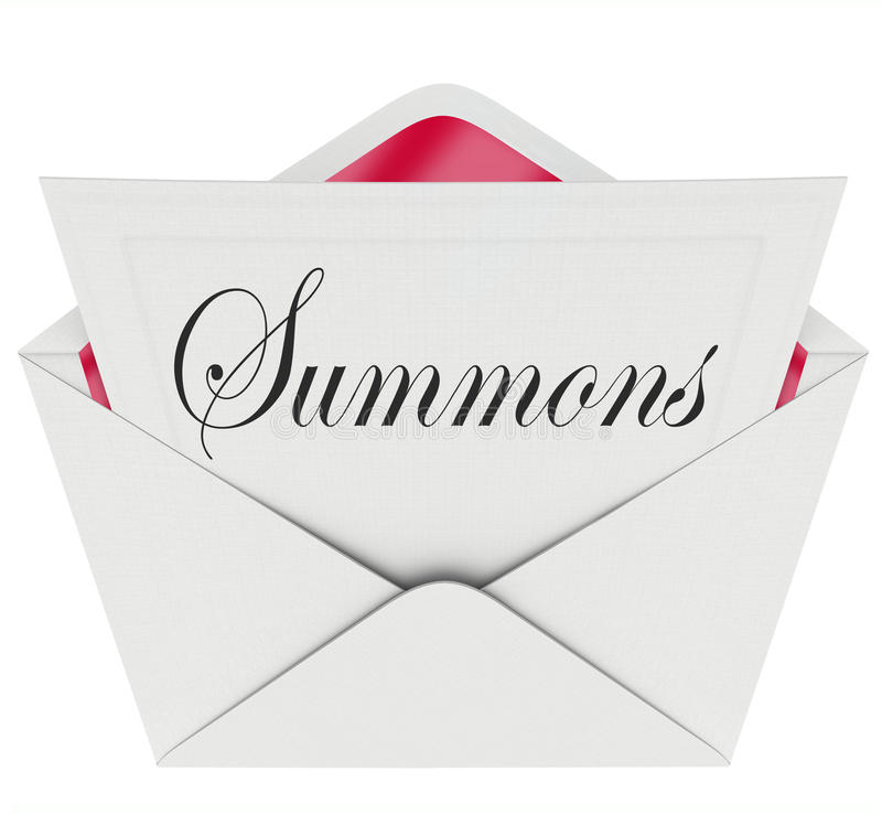 Free Summons To Appear In Court Letter Envelope Mail Legal Lawsuit Ca Royalty Free Stock Photography - 44262937
