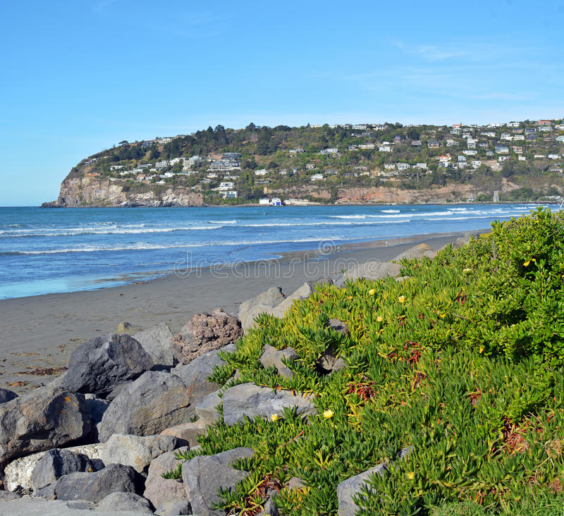 Sumner Beach and Scarborough Hill, Christchurch New Zealand stock image
