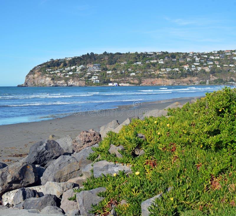 Sumner Beach und Scarborough-Hügel, Christchurch Neuseeland stockbild