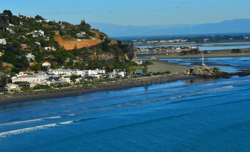 Sumner coastal seaside Christchurch - New Zealand. CHRISTCHURCH - DEC 04 2015:Aerial view of Sumner Christchurch. It's a popular holiday destination coastal royalty free stock photography