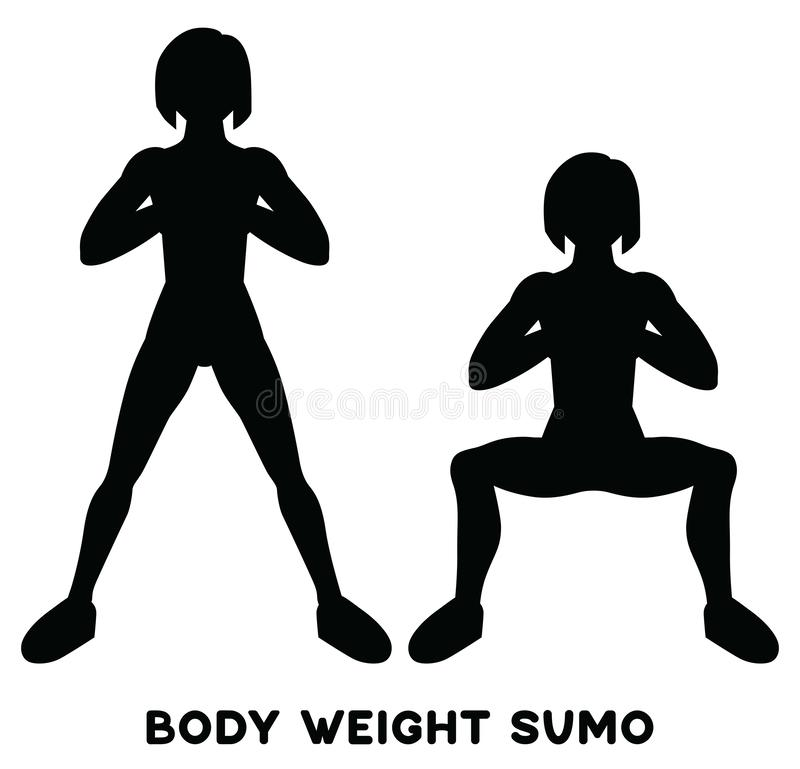 Sumo веса тела Широкие сидения на корточках позиции Exersice спорта Силуэты женщины делая тренировку Разминка, тренируя иллюстрация вектора