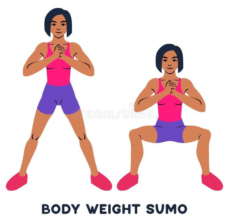 Sumo веса тела Широкие сидения на корточках позиции Exersice спорта Силуэты женщины делая тренировку Разминка, тренируя иллюстрация штока