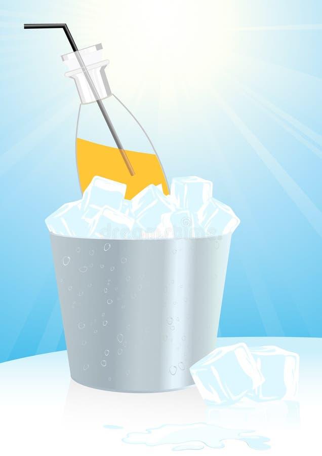 Sumo de laranja na cubeta de gelo ilustração do vetor