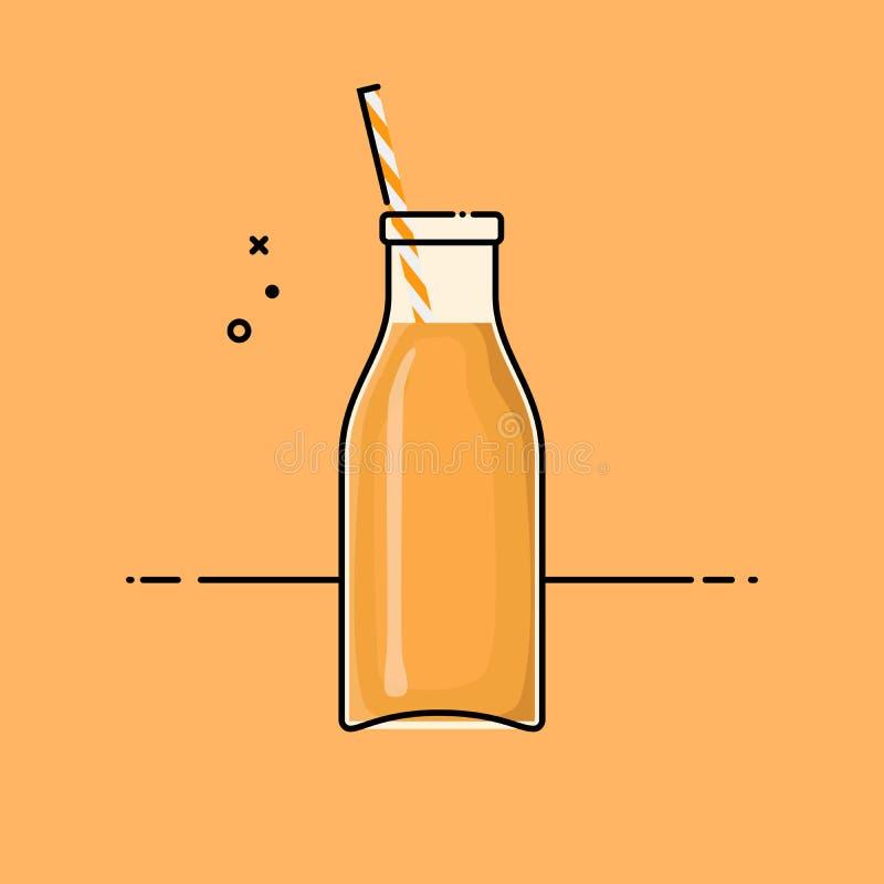 Sumo de laranja na garrafa de vidro ilustração stock