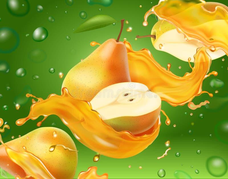 Sumo de pera com sumo de amarelo com ilustração realista do vetor de fundo verde ilustração royalty free