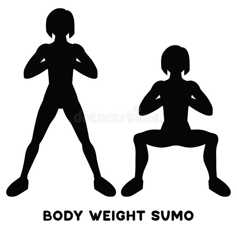 Sumo del peso corporal Posiciones en cuclillas amplias de la postura Exersice del deporte Siluetas de la mujer que hacen ejercici ilustración del vector