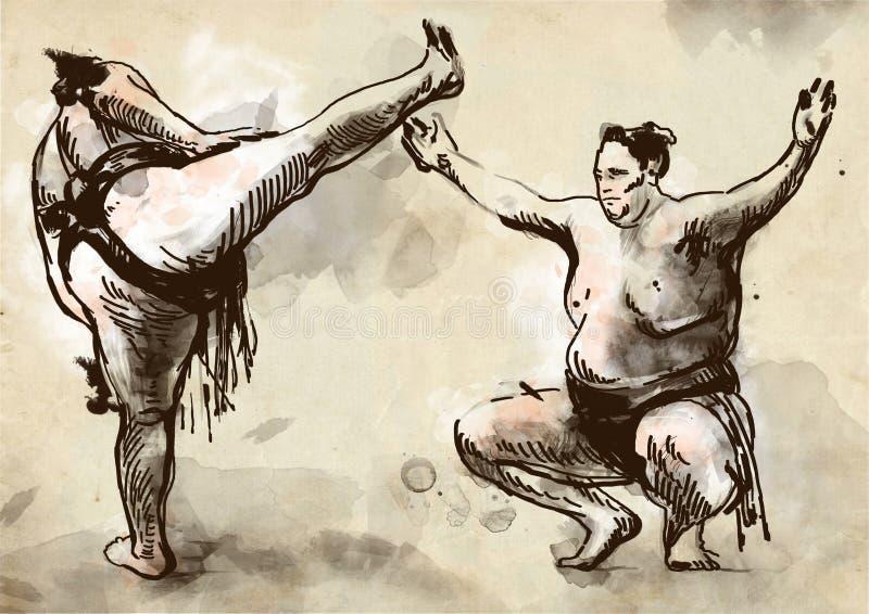 sumo En normalformat hand dragen illustration i cal royaltyfri illustrationer