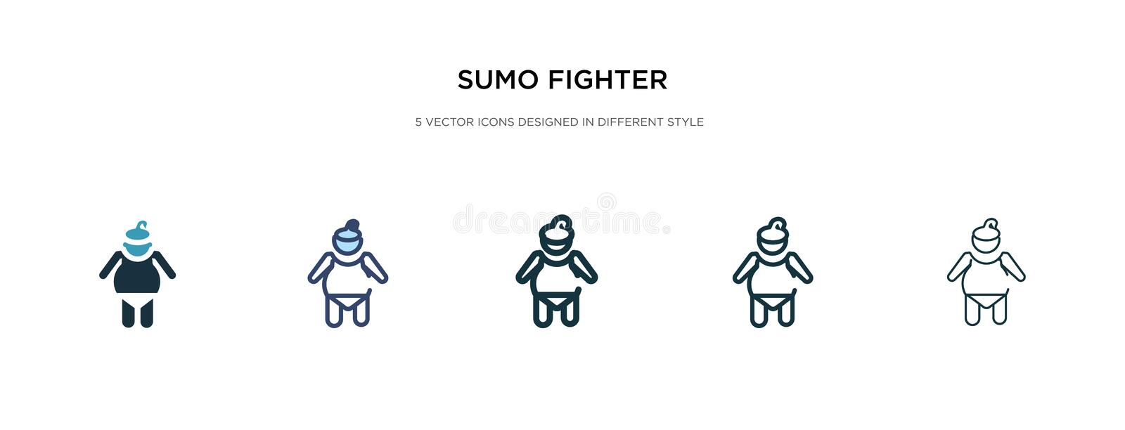 Sumo fighter icon in different style vector illustration. two colored and black sumo fighter vector icons designed in filled, vector illustration
