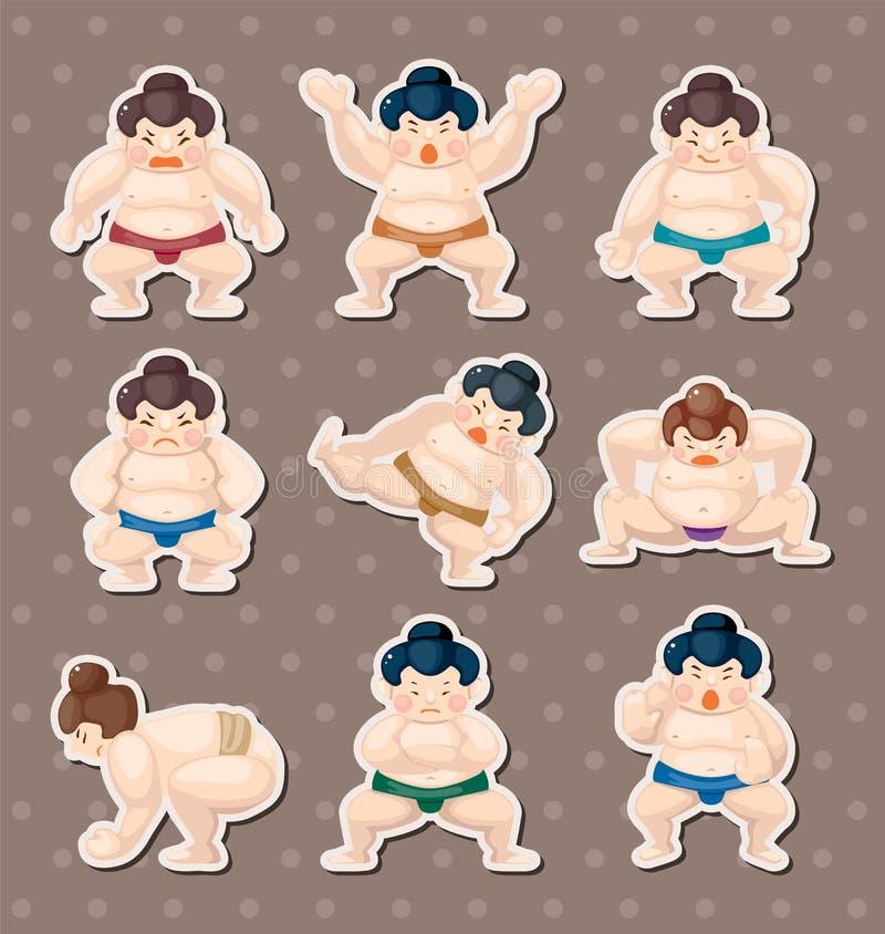 Sumo player stickers stock illustration