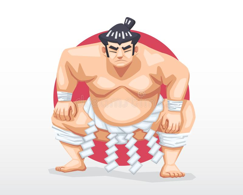 Sumo standing in crouch stance with red circle as background illustration stock images