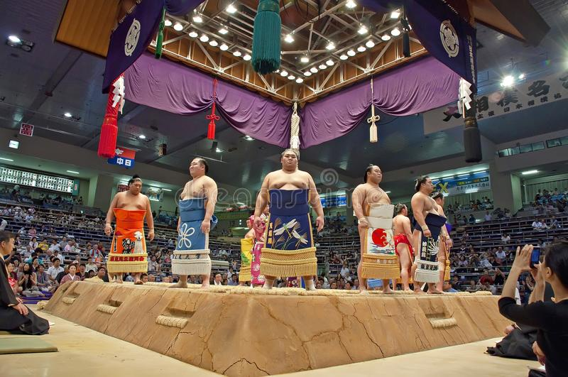 Sumo Tournament. Nagoya, Japan- July 18: sumo tournament in Nagoya pavilion on July 18, 2011 in Nagoya, Japan. Hakuho win over Kakuryu and the triumph of royalty free stock photography