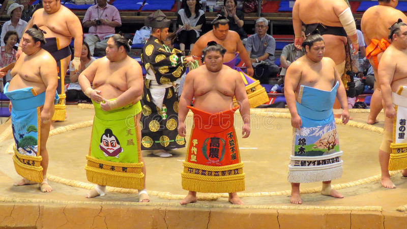 Sumo tournament in Nagoya. Sumo wrestlers in Aichi prefectural gymnasium in Nagoya in Japan stock photography