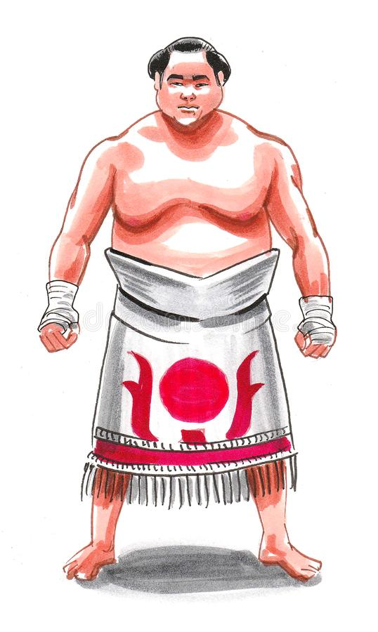 Sumo wrestler. Big fat strong Japanese sumo wrestler. Ink and watercolor illustration stock image