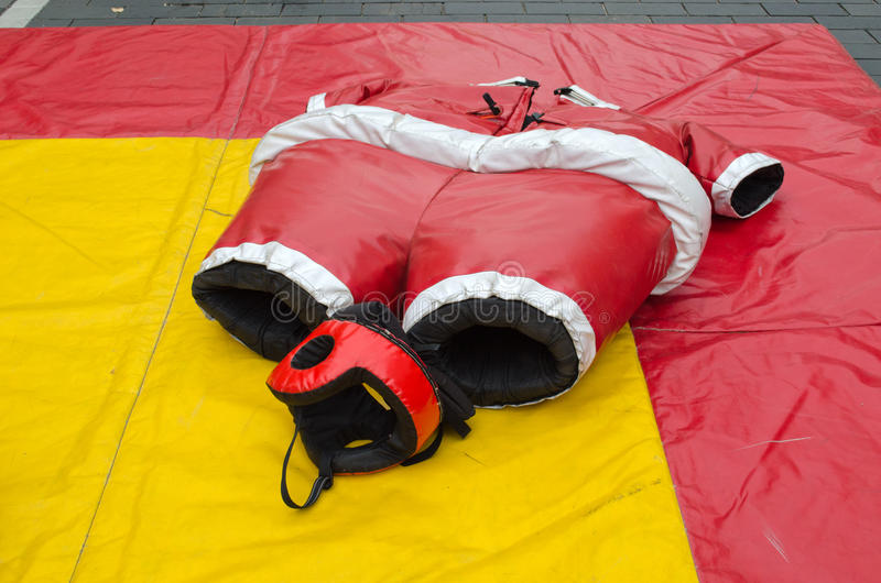 Sumo wrestler costume suit and helmet. People fun entertainment play object in street royalty free stock image