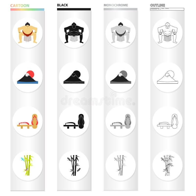 Sumo wrestler, Mount Fuji, bamboo, Japanese shoes, geta.Japan set collection icons in cartoon black monochrome outline stock illustration
