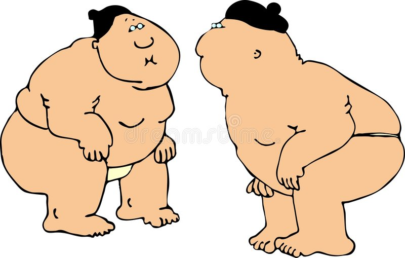 Sumo Wrestlers vector illustration