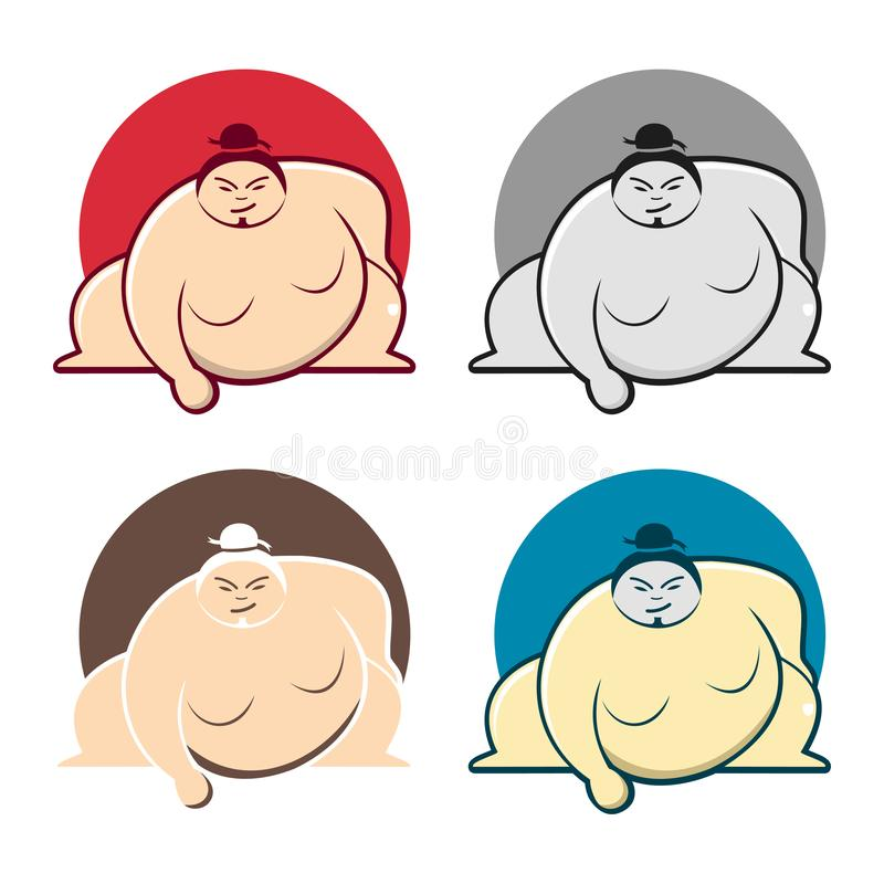 Sumo Wrestling Big Fat Man Cartoon Character Set royalty free illustration
