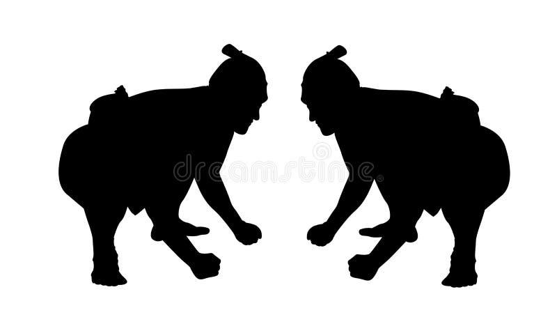 Sumo wrestling silhouette royalty free illustration