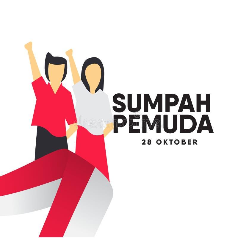 Sumpah Pemuda Celebration Vector Template Design Illustration royalty free illustration