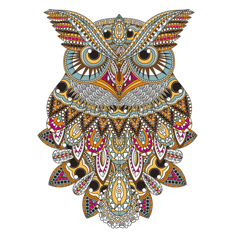 Sumptuous owl. Coloring page in exquisite style