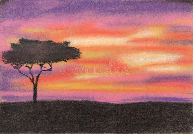 Sumset в Африке Пастельная картина стоковые фото