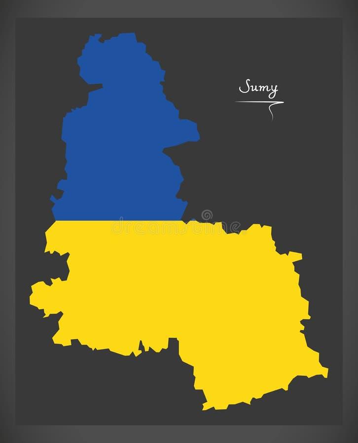 Sumy map of Ukraine with Ukrainian national flag illustration. Sumy map of Ukraine with Ukrainian national flag stock illustration