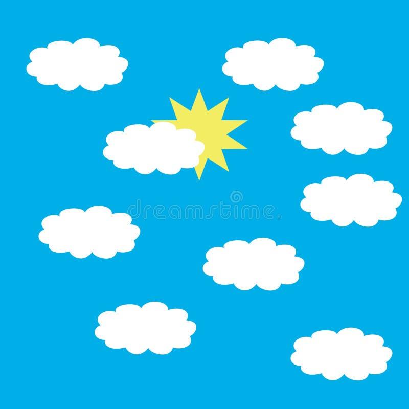 Sun и белые облака бесплатная иллюстрация