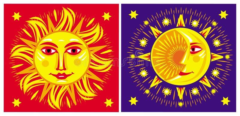 Sun и луна. бесплатная иллюстрация