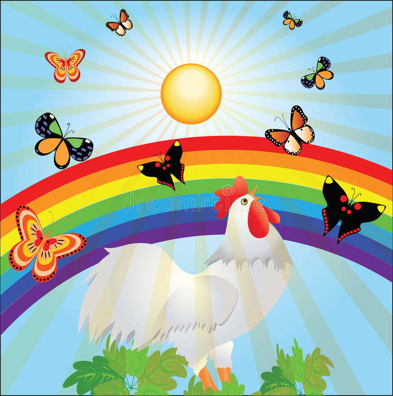 Sun, радуга, бабочки и кран иллюстрация штока