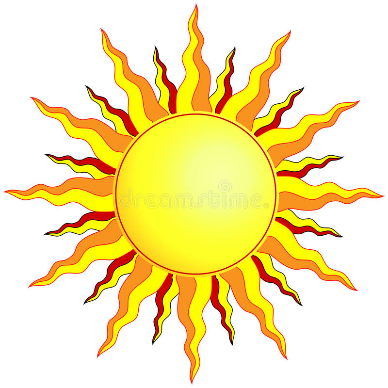 Sun. Illustration of the sun with wavy pointed sunrays of yellow, orange and red royalty free illustration