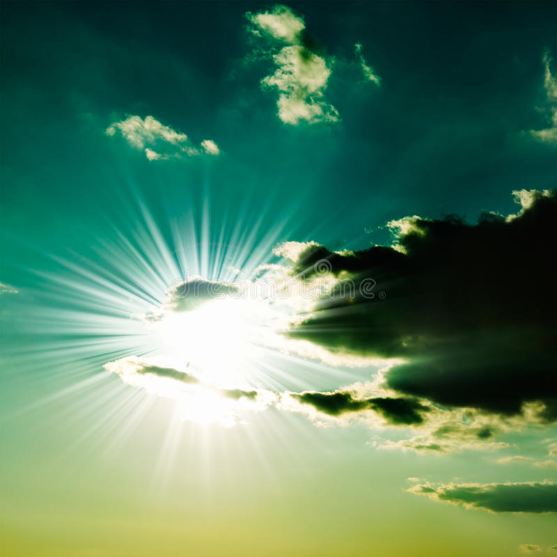 Sun. Closed by rain clouds stock photography