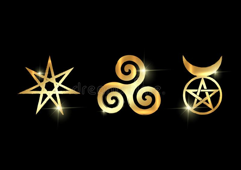 Set of Witches runes, golden wiccan divination symbols. The Elven star or the Seven-pointed Star, the Triskele or Triskelion. The Horned God. Gold shiny royalty free illustration