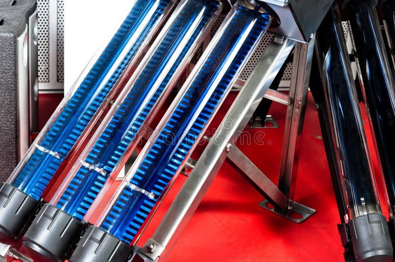 Sun-Abgassammler auf rotem Teppich stockfotos