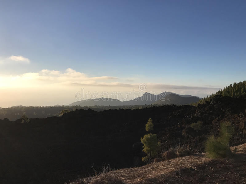 Sun above the clouds. At Teide National Park on Tenerife stock photo