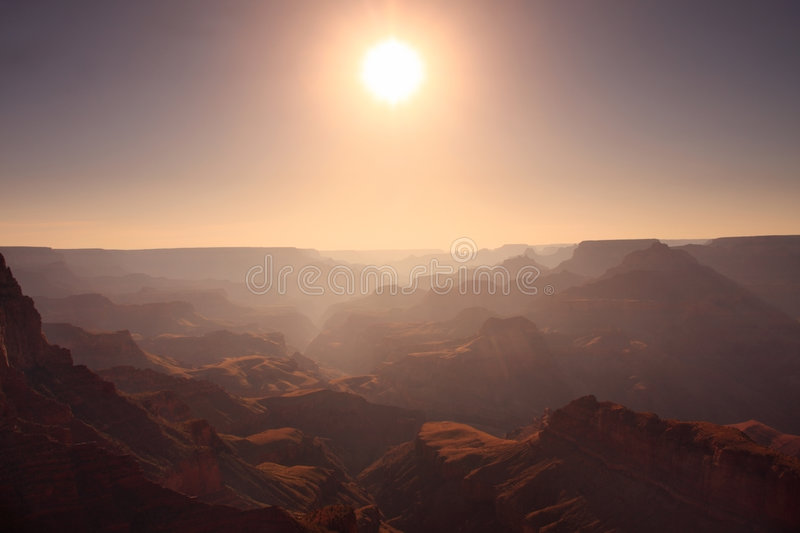 Download Sun above the Grand Canyon stock image. Image of setting - 8130787