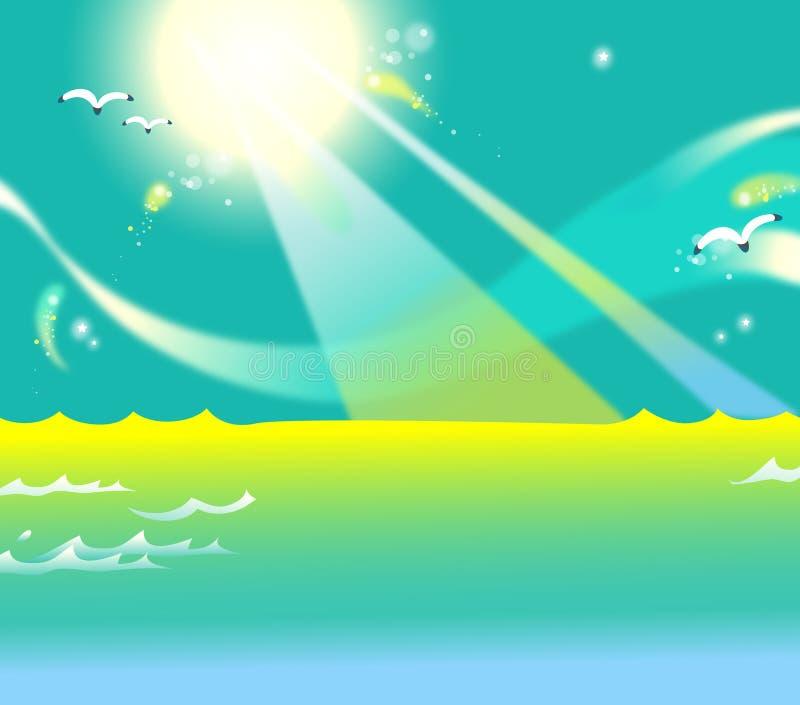Download The sun above the sea stock illustration. Illustration of ozone - 9860695