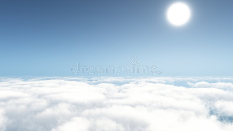 The Sun above the skies stock image