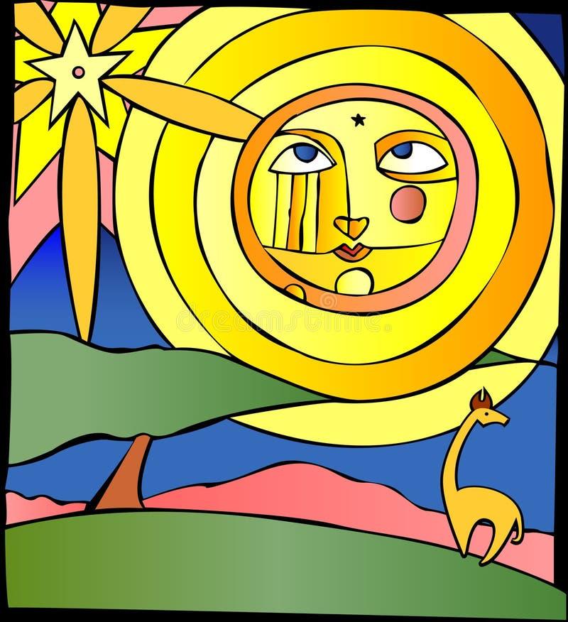 Sun acima das planícies ilustração stock