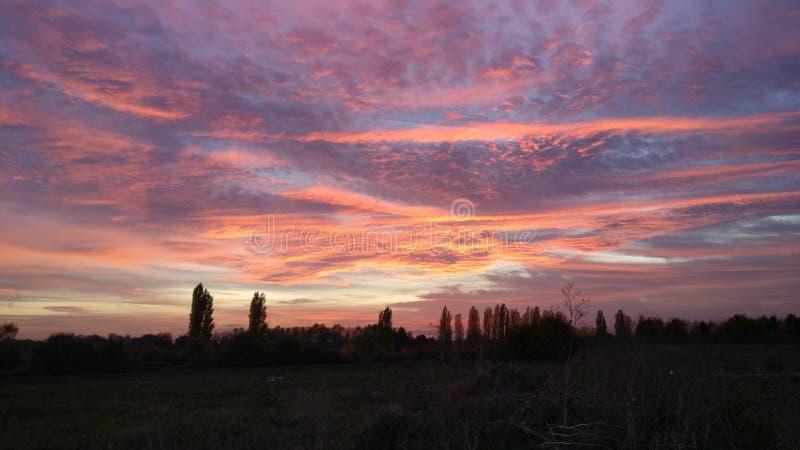 Sun ajustou-se com um céu nebuloso do matiz cor-de-rosa e alaranjado fotografia de stock