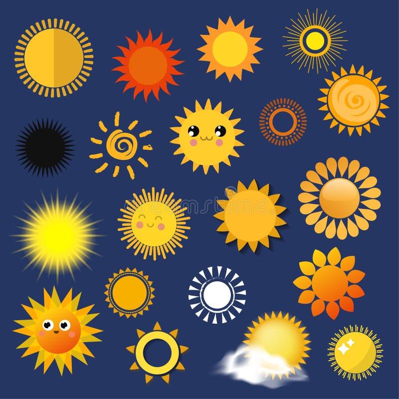 Sun amarela da estação diferente da ilustração do vetor do tempo do estilo dos planetas a coleção ensolarada dos ícones do símbol ilustração do vetor