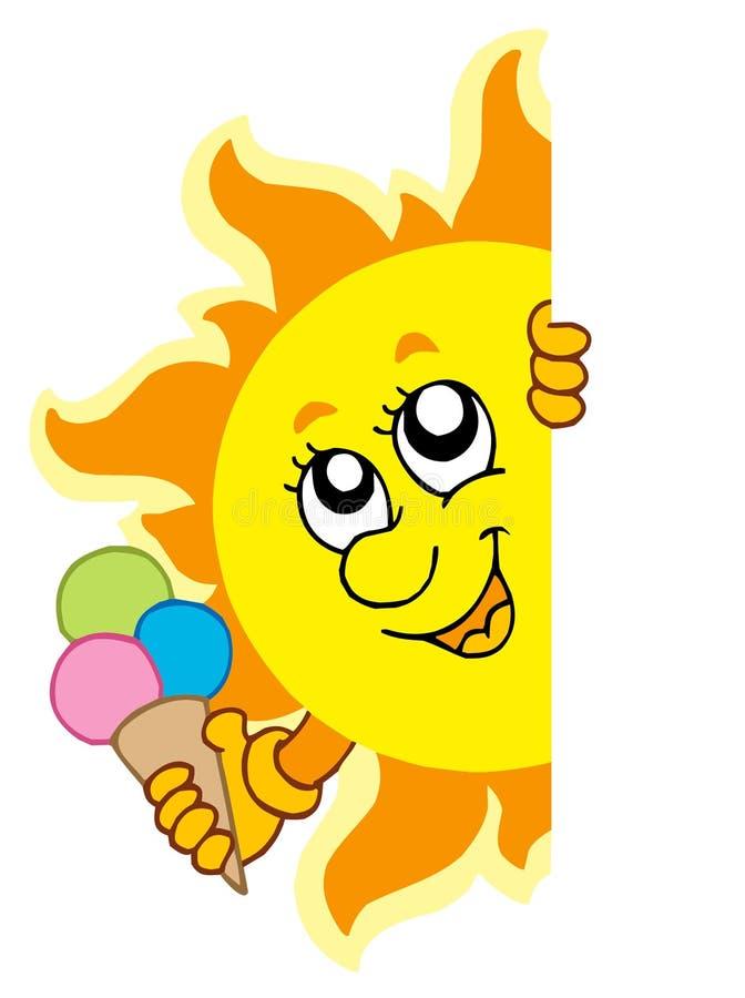 Sun Appostantesi Con Gelato Fotografia Stock